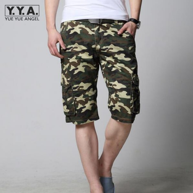 Summer Men Cargo Short Pants Big Pocket Slim Fit Straight Mens Shorts Camo Printed Large Size 28-44 Classic Male Short Trousers