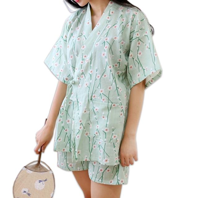 Summer Floral short kimono Pajamas sets for women 100% cotton Japanese sakura fresh green pyjamas simple pijama Robes
