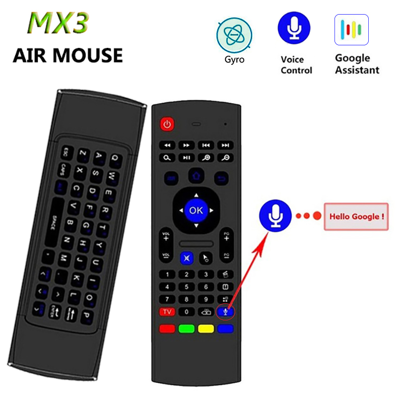 MX3 voice Backlit Air Mouse T3 Google Smart Remote Control IR 2.4G RF Wireless Keyboard For Android Linux Mac OS Gyro remote