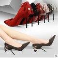 Bomba zapatos mujer moda Sexy Nnightclub fina con boca baja señaló tacón alto de gamuza con flecos hueco zapatos de tacón alto Sapatos