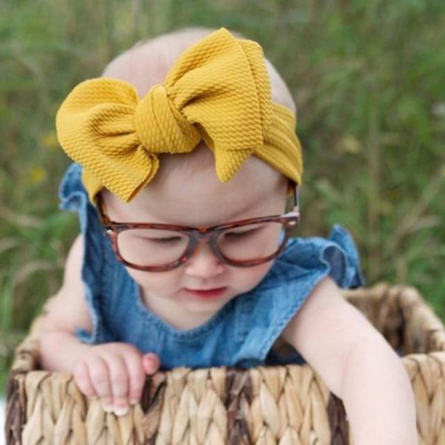 Adjustable Big Bow Baby Headband Baby Headwear Accessories Big Knot Headbands Over Sized Bow Turban Newborn Head Band Girl New