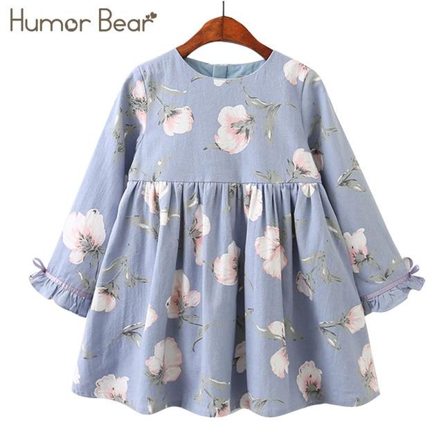 הומור דוב 2018 בנות שמלת ילדי בגדי סתיו ארוך שרוול פרחי הדפסת עיצוב נסיכת שמלות עבור 3-7
