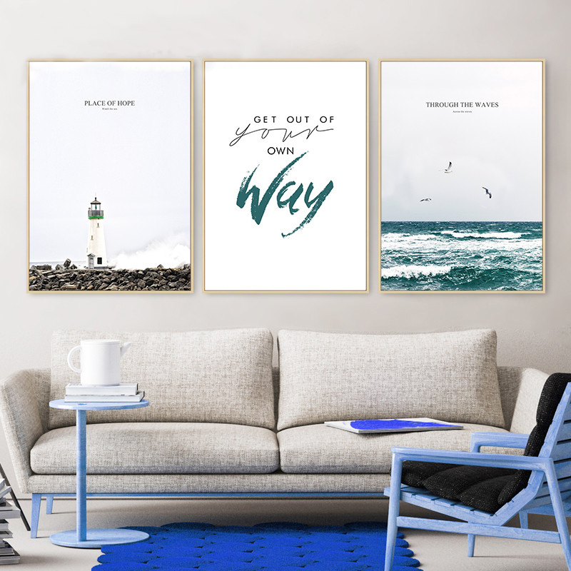 Nordic Modern Coastal Lighthouse Canvas Painting Abstract English Letter Motivational Poster Sea Wall Picture Living Room Decor