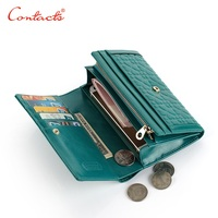 CONTACTS New Thin Genuine Leather Men Women Wallet Long Casual Wallet Purse Card Holder Coin Gree