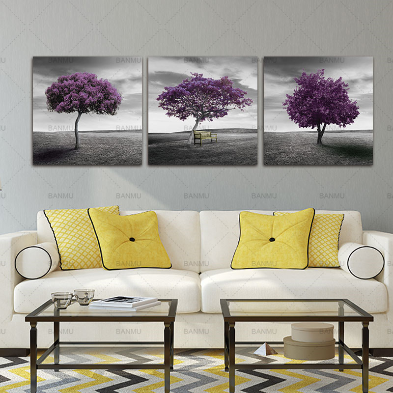 Leinwand Malerei Wandkunst Bilder Drucken Auf 3 Stück Lila Bäume Moderne  Dekoration Wohnzimmer Bilder Auf Leinwand Keine Rahmen In Leinwand Malerei  ...