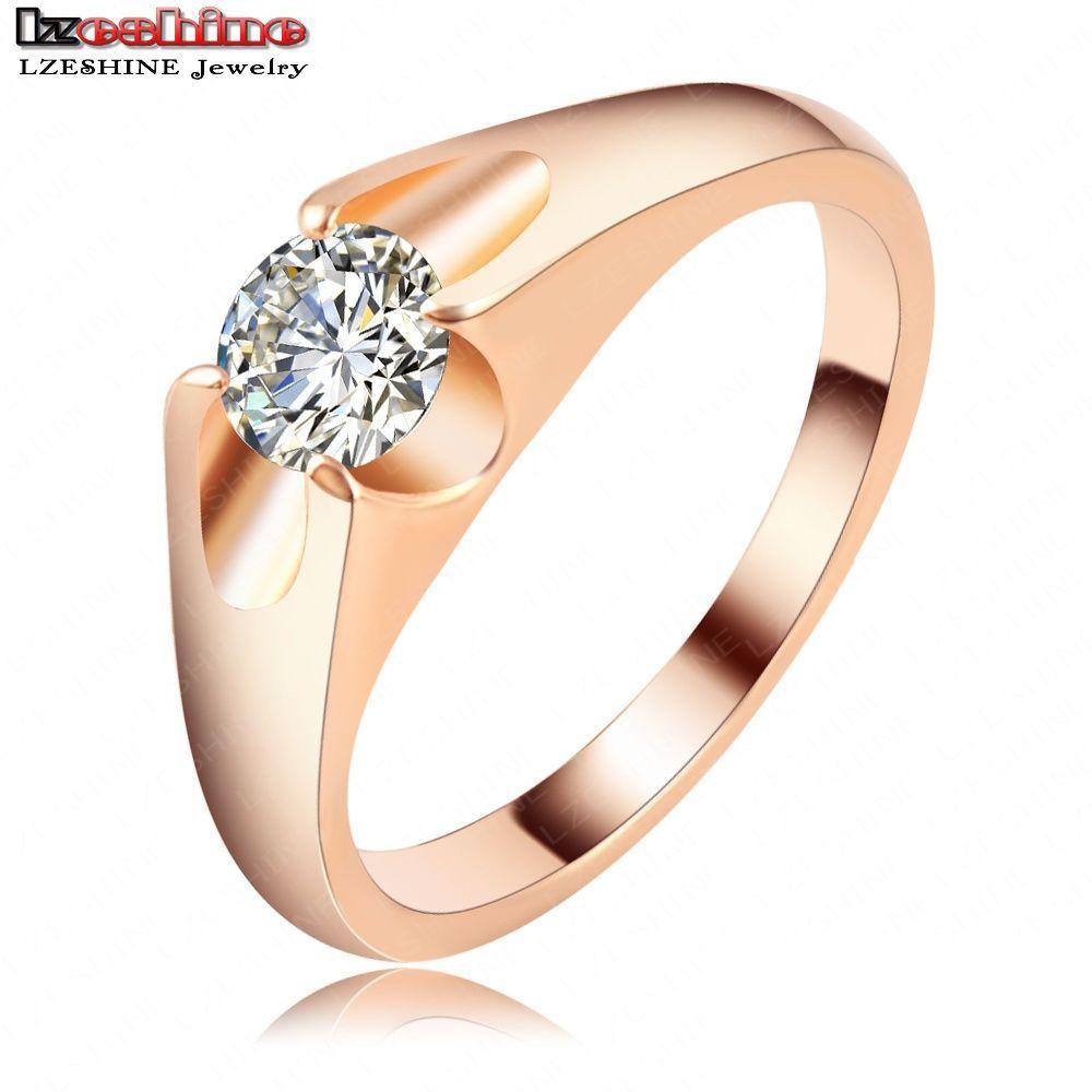 LZESHIINE New Design Fancy Couple Engagement Rings 2016 Rose Gold ...