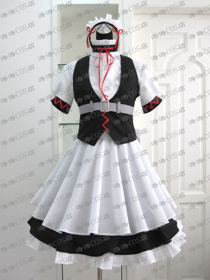 Anime Steins Gate Ferris Nyannyan Black and White Maid Dress Cosplay Costume Free Shipping