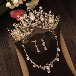Bridal Jewelry Set Rhinestone Crystal Gold Tiara Silver Crown Earrings for Wedding Necklace Set Accessories Bride Luxury Jewelry