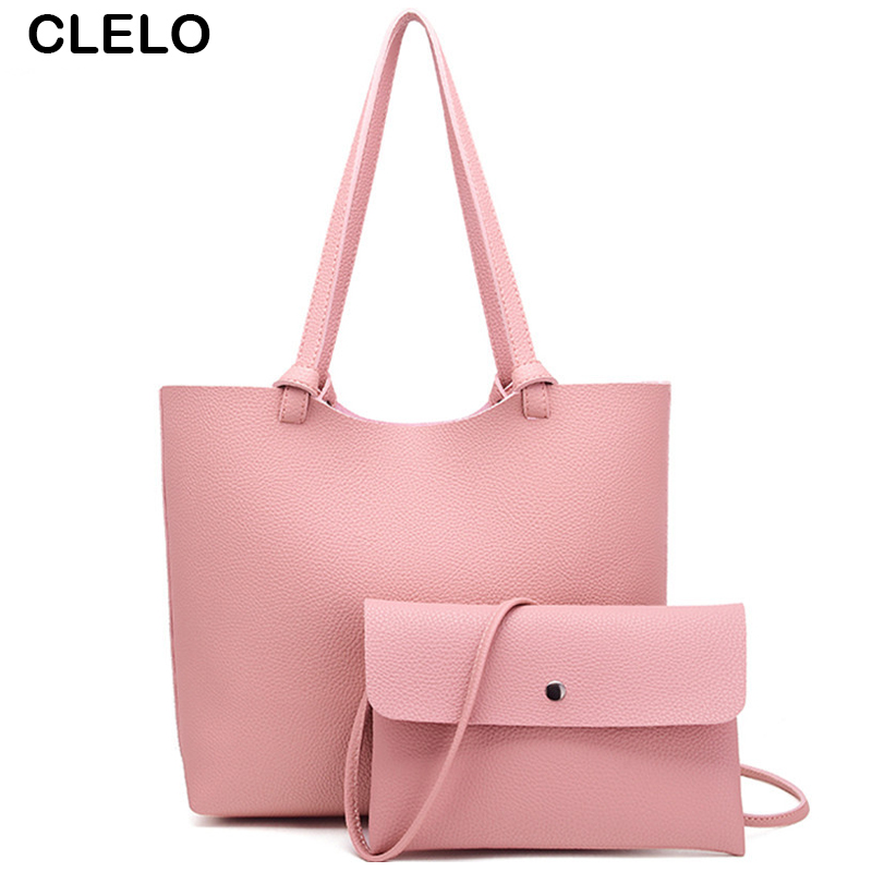 CLELO Women handbag Fashion Brand Designer PU Leather Handbags Women Messenger Bags Large Shopping Tote Ladies Composite Bag