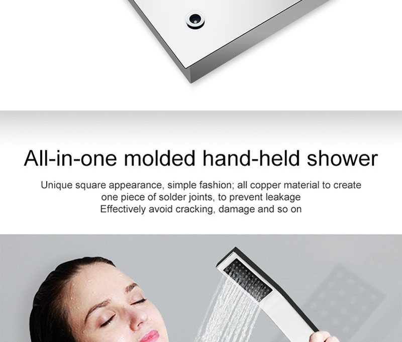 LED Ceiling Shower Head Rain Waterfall Shower Massage Jets Wall Mounted Panel Tap Sets Thermostatic Mixer (19)