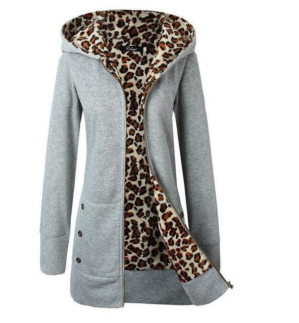 Зимние Пальто Женщин 2016 Европа Новое Прибытие Плюс Толстый Бархат Леопарда Печати С Капюшоном Куртки Плюс Размер Прямых Случайные Женщины Мягкий