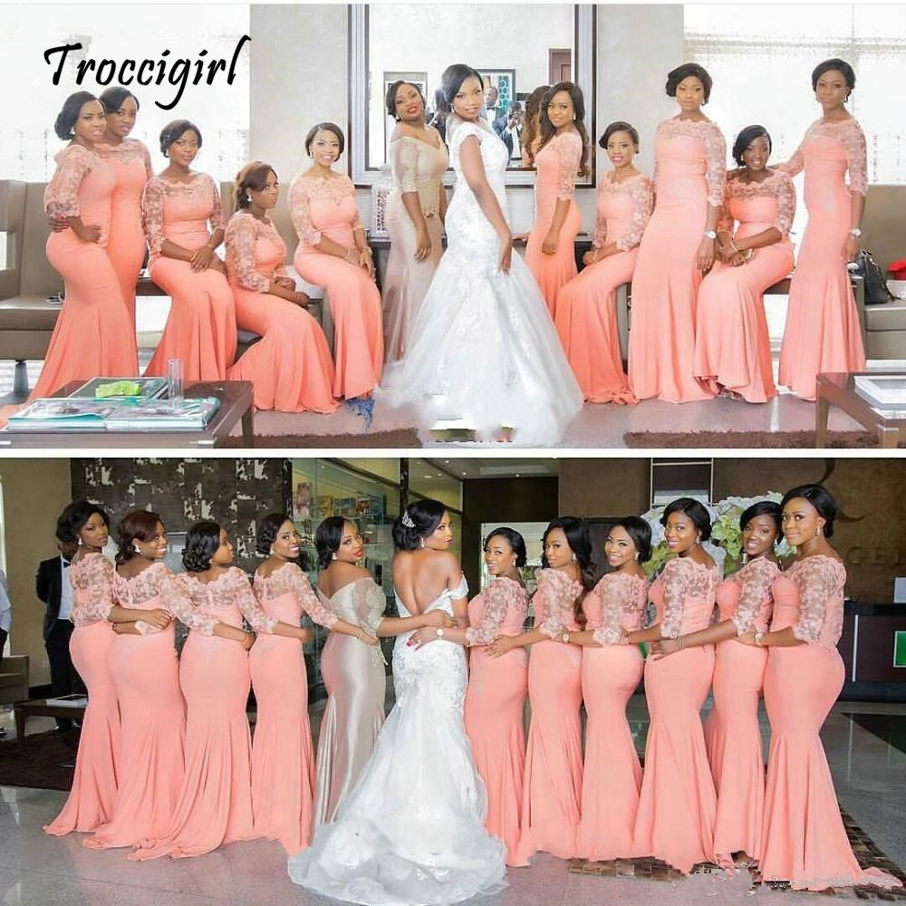 17-1         Arabic African Coral Long Bridesmaid Dresses with Half Sleeves Plus Size Lace Mermaid Party Dress Beautiful Dresses for Wedding