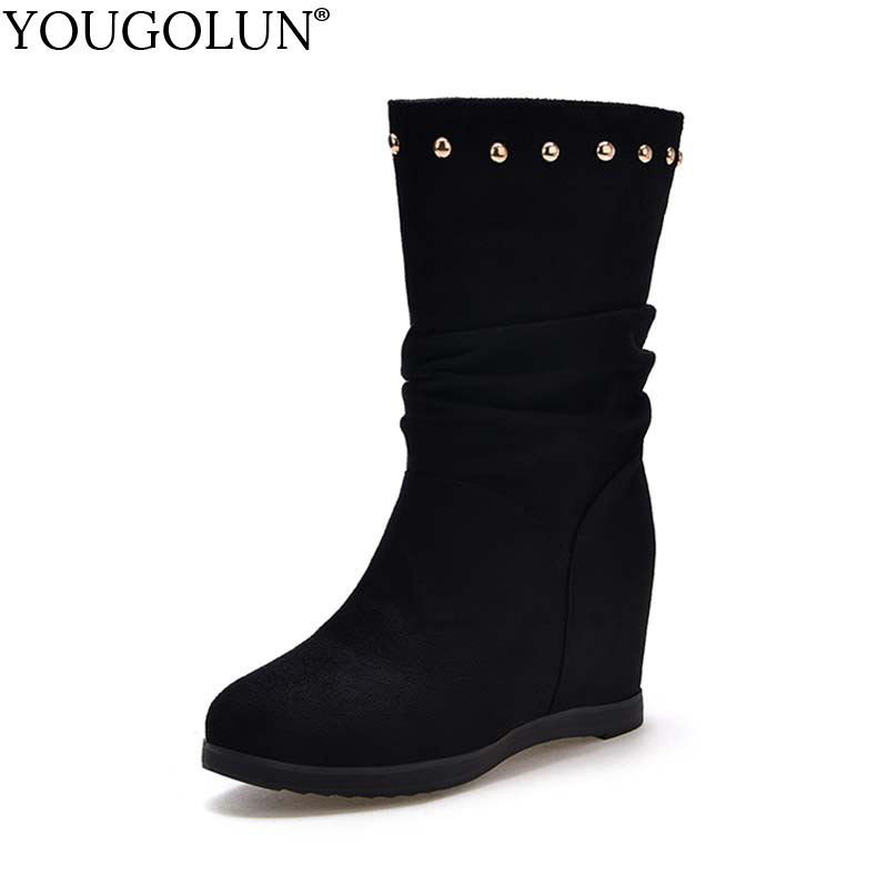 YOUGOLUN Women Ankle Boots 2017 New Autumn Winter Wedges Heel 6 cm Rivets Round toe High ...