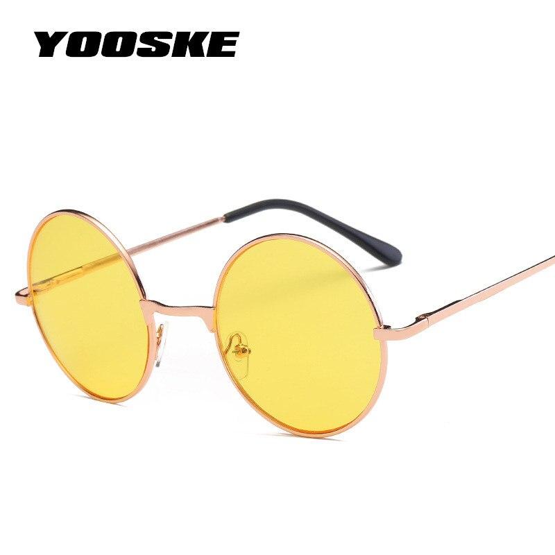 YOOSKE Vintage lunettes de Soleil Rondes Femmes Océan Couleur Lentille Miroir Lunettes De Soleil des Femmes Marque Rose Or Métal Cadre Cercle Lunettes UV400