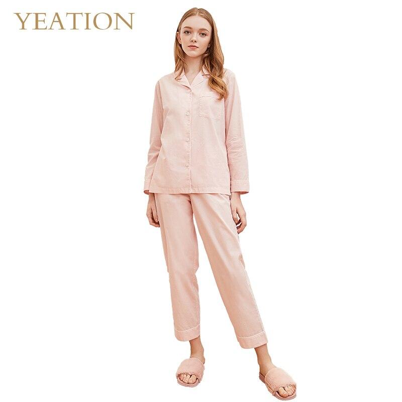 4ae5f5397 Comprar YEATION Mulheres Roupão Pijamas de Manga Longa Pijama Terno Sono  Feminino Conjunto de Duas Peças Baratas Online Preço .