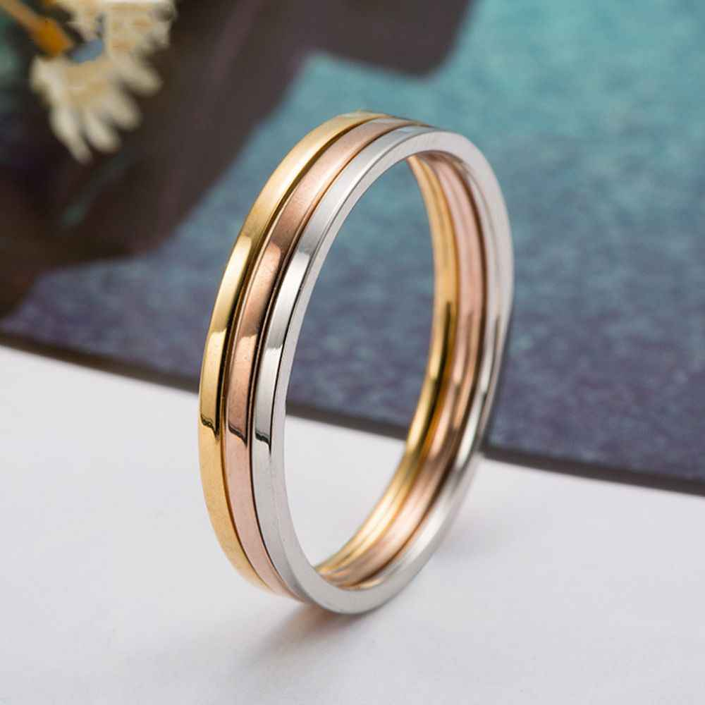 1PC 2mm Hot Simple Unisex  Women Men Anniversary Solid Couples Rings Wedding Alloy Smooth Fashion Jewelry Gift Three Color Ring