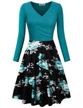 dress spring elegant a-line v-neck long sleeve print woman dresses European style vintage slim female
