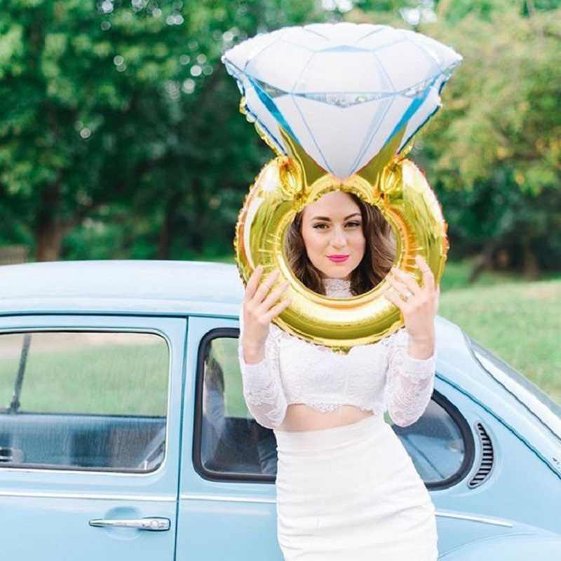 43 дюймов большой воздушный шар бриллиантовое кольцо фольги Воздушные шары Надувное свадебное украшение гелиевый воздух воздушный шар события вечерние поставки