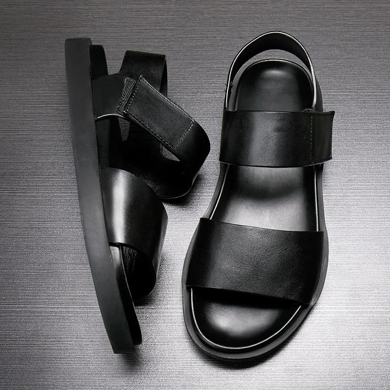 Gray Sandálias Do Couro skid Muffin preto sola Anti Sapatos Grosso Masculinos Sexo Masculino Confortáveis Verão De Genuíno Praia BRqIaxOw