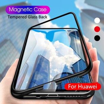 Manyetik Adsorpsiyon Kılıfı için Huawei P20 Lite Mate 10 Pro Lüks Mıknatıs  Metal Cam arka