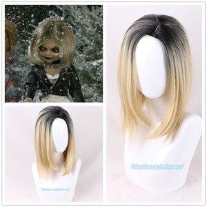 Image 1 - Cadılar bayramı Gelin Chucky Kadın Sarışın Siyah Peruk Rol Oynamak Jennifer Tilly Cosplay Orta Ayrılık Saç + Peruk Kap 2 türleri