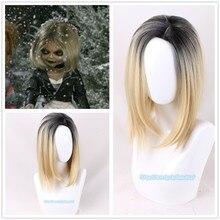 Halloween Bride of Chucky Women blond czarna peruka do odgrywania ról Jennifer Tilly Cosplay środkowe rozstanie włosów + czapka z peruką 2 rodzaje