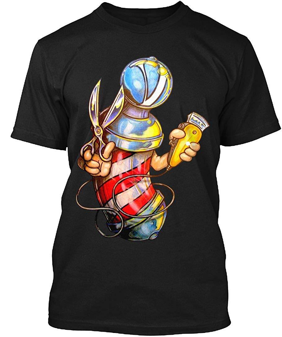 2019 Nieuwe Heren T Shirt Kapper Uniform Giant Kapper Pole Tee T-shirt 100% Comfortsoft Katoen Tee Crew Neck T-shirt Duidelijk Effect