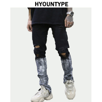 Bottom Graffiti Printed Zipper Denim Jeans Mens Ripped Knee Hole Biker Jean Motorcycle Slim Trousers Streetwear Hip Hop Pants