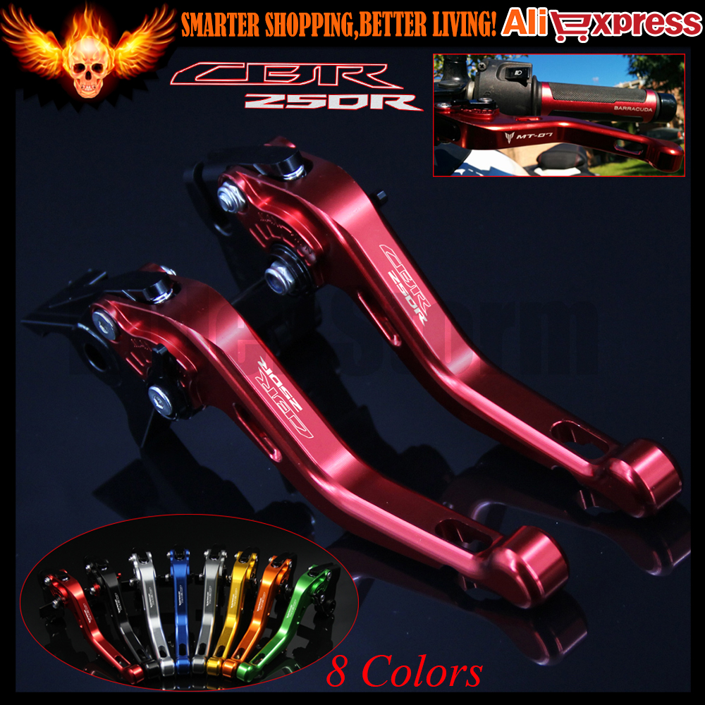 ФОТО Laser Logo (CBR250R) 8 Colors Red For Honda CBR250R 2011 2012 2013 CNC Aluminum Motorcycle Short Brake Clutch Levers