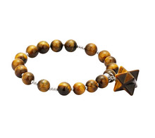 FYJS Unique Jewelry Silver Plated Star Point Merkaba Natural Tiger Eye Stone 8 mm Round Beads Bracelet