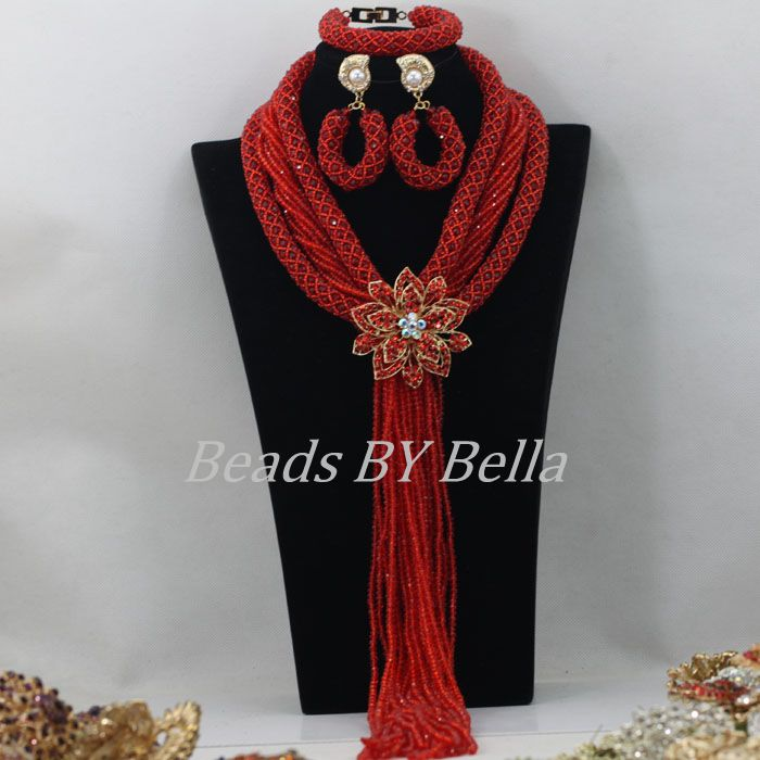 Hot Braid Crystal Beads Necklace Nigerian Wedding Red African Beads Jewelry Set Fashion Bridal Jewelry Sets Free Shipping ABF442