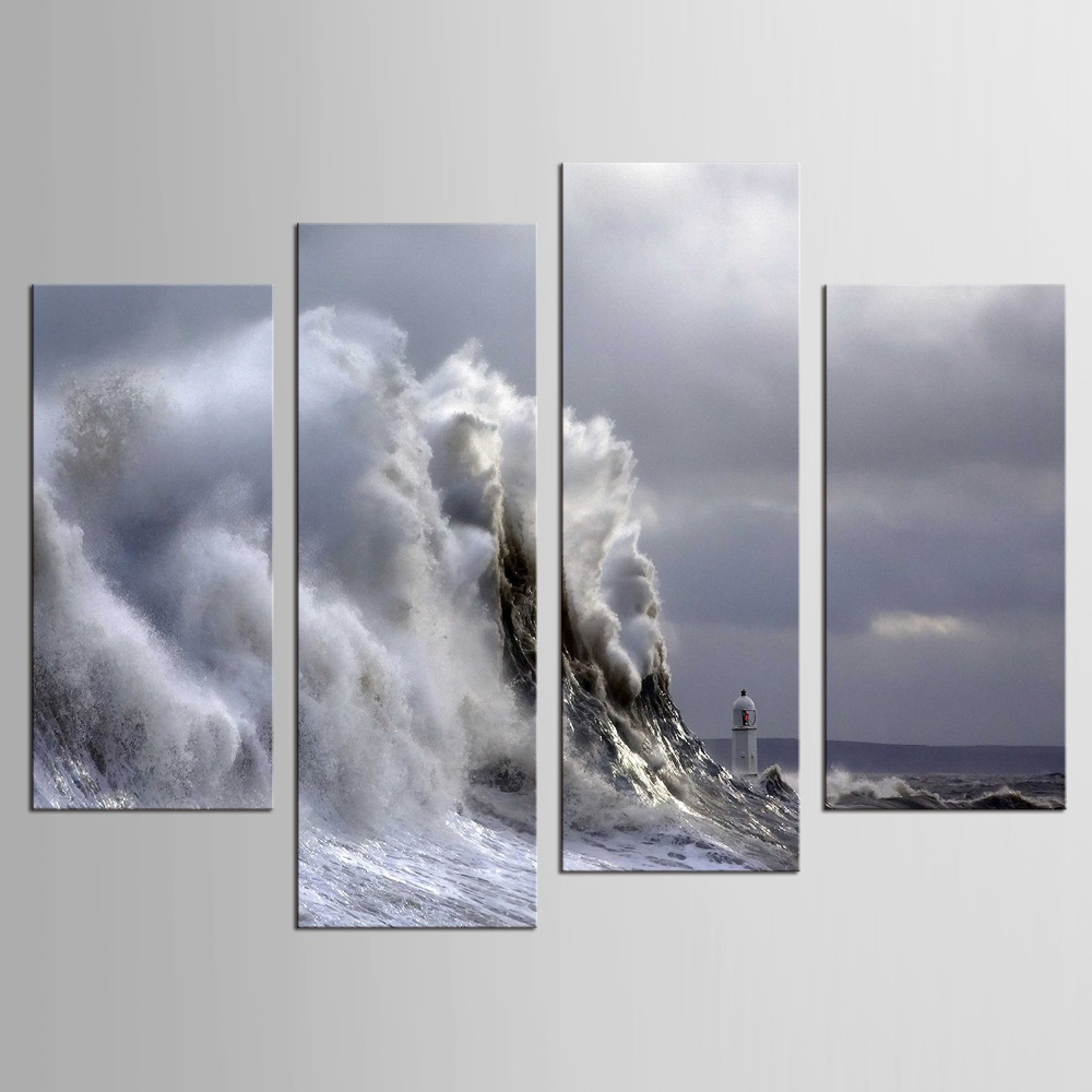 4 Panels Waves Picture Wall Decor Print on Canvas Oil Painting Canvas Painting for Christmas Gift