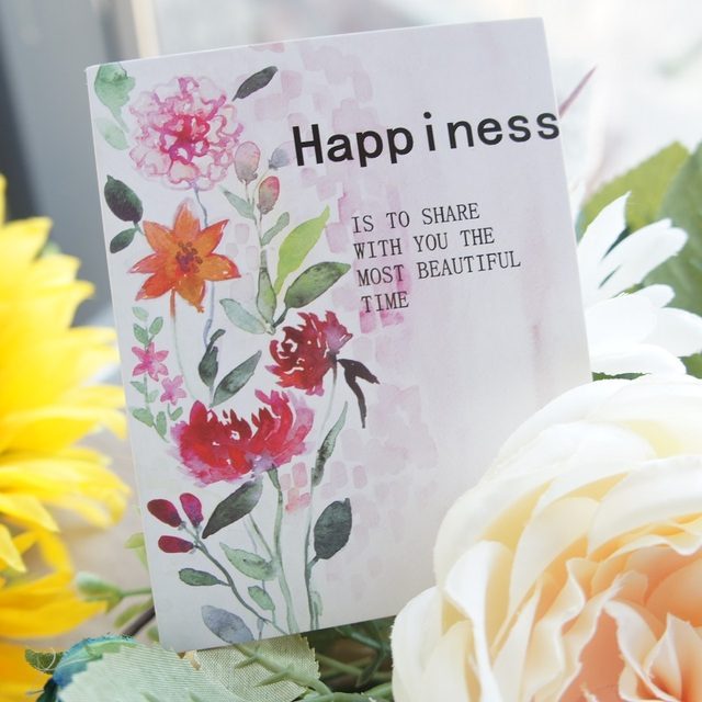 50pcs happiness life theme watercolor flower style leave message