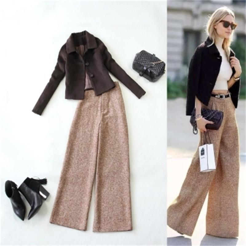 Fashion Suit Female Winter /spring New Large Size Coffee Color Wool Short Jacket + High Waist Wide Leg Pants Suit Women