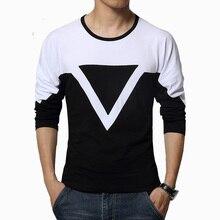 Free shipping 2016 Spring new high-end men's brand t-shirt fashion Slim Funny T-shirt Plus size long-sleeved t shirt men M-5XL