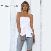 Summer Style White Strapless Top Women Black Beach Wear Wrap Blouse Casual Sexy Shirt ropa mujer veste femme Boho Gypsy Tees New