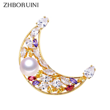 ZHBORUINI Fine Jewelry High Quality Natural Freshwater Pearl Brooch Moon Pins Women Corsage Accessories