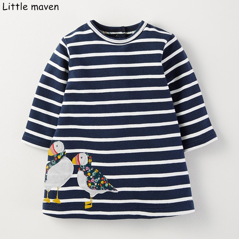 Little maven kids brand clothing 2017 new autumn baby girls clothes Cotton bird embroidered girl A-line stripped dresses S0262 little maven kids brand clothes 2017 new autumn baby girls clothes cotton bird printing girl a line pocket dress d063