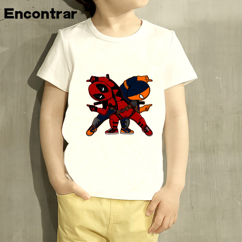 Kids Deadpool Cartoon Design Baby Boys/Girl TShirt Kids Funny Short Sleeve Tops Children Cute T-Shirt,HKP1037