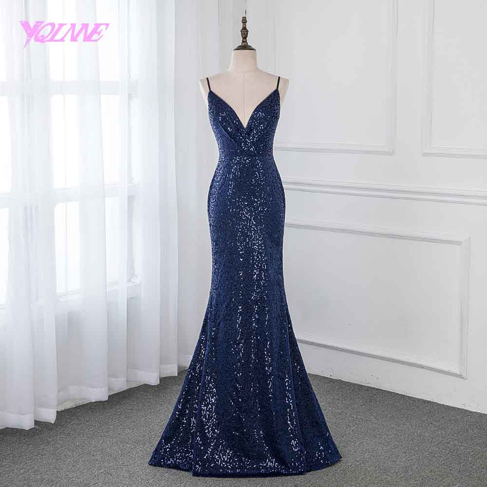 YQLNNE 2019 Navy Blue Long   Prom     Dresses   Sequins Sleeveless Formal Evening Gown   Dress   Backless