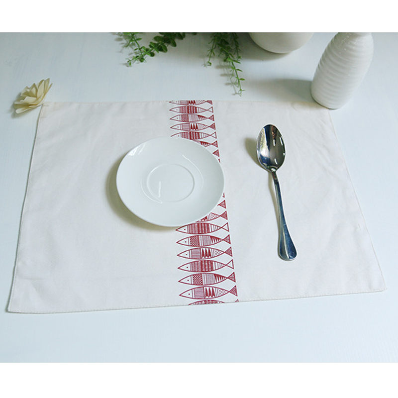 Special geometric figure fish pattern table mat cotton placemats coaster napkin bowl pads aesthetic restaurant table decoration