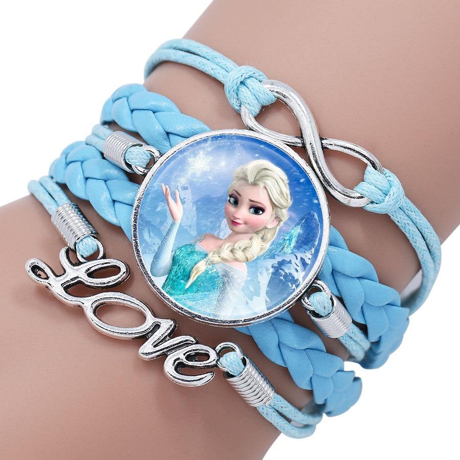 Детский Браслет Принцессы Диснея с героями мультфильма «Холодное сердце», Эльза, прекрасный подарок для девочек, аксессуары для одежды, детский браслет, украшения для макияжа - Цвет: 15