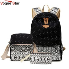Vogue Star 3 PC Set Stylish Canvas Printing Backpack Women School Bags for Teenage Girls Laptop