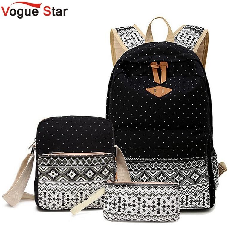 Vogue Star 3 PC Set Stylish Canvas Printing font b Backpack b font Women School Bags