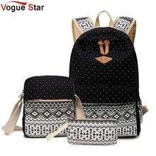 Vogue star 3 unid/set elegante impresión de la lona mujeres mochila bolsas escolares para adolescentes mochilas portátiles mochila femenina la210