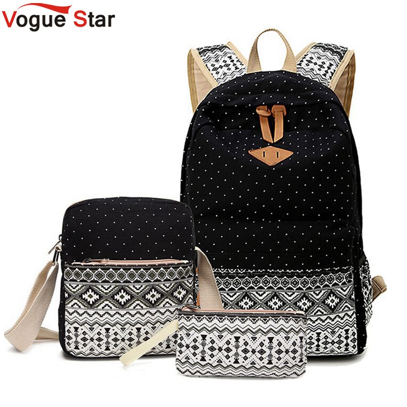 Vogue Star 3 PC/Set Stylish Canvas Printing Backpack Women School Bags for Teenage Girls Laptop Backpacks Female Bagpack LA210