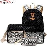 Vogue star 3 pz/set alla moda stampa su tela zaino donne borse da scuola per ragazze adolescenti zaini laptop bagpack femminile la210