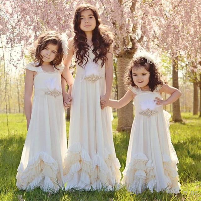 Pretty Backless Flower Girls Dresses 2018 Boho Weddings Dollcake First Communion Dress Floor Length Pageant Gown Any Size high low flower girl dresses beaded organza ruffles v neck first communion dress 2018 girls pageant gown custom any size
