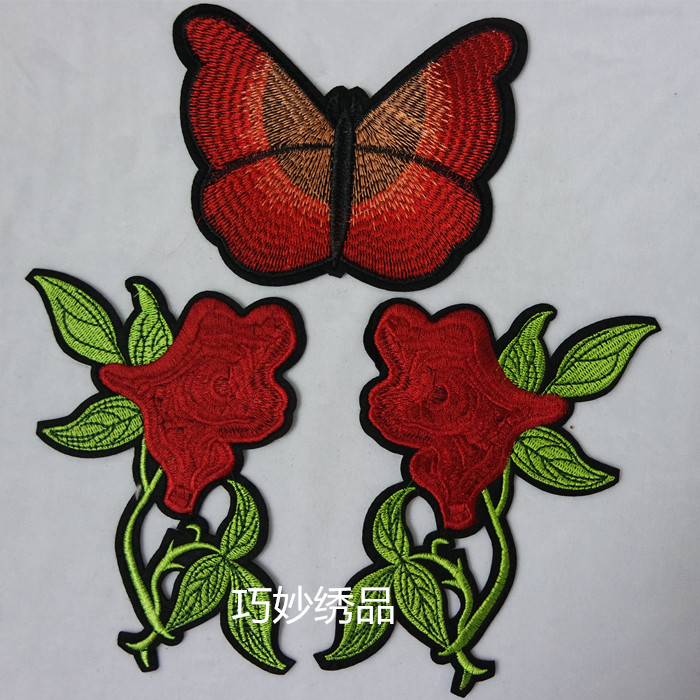 ჱFlores y mariposa bordado Patch moda paillette applique coser en ...
