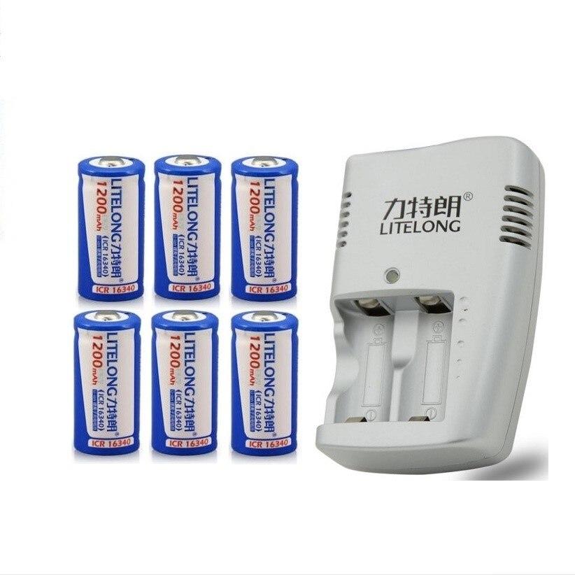 6PCS ICR16340 CR123A CR123 CR 123 123A CR17345 17345 1200 mAh 3.7 V Batteria Al Litio+1PCS charger